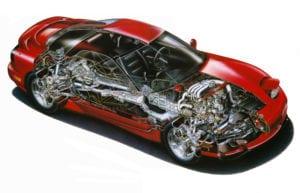 Ilustración del Mazda RX-7 con motor Wankel